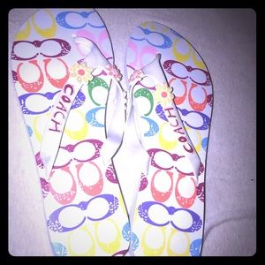 Size 10 women's coach flip flops, used once!